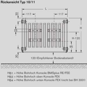 Buderus Heizkörper Profil -Kompakt - C-Profil Typ 11 BH:600 BL:1000